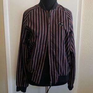 Black and red striped zip up jacket